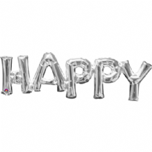 "Silver HAPPY Phrase Mini-Foil Balloon (10"" Air) 1pc"